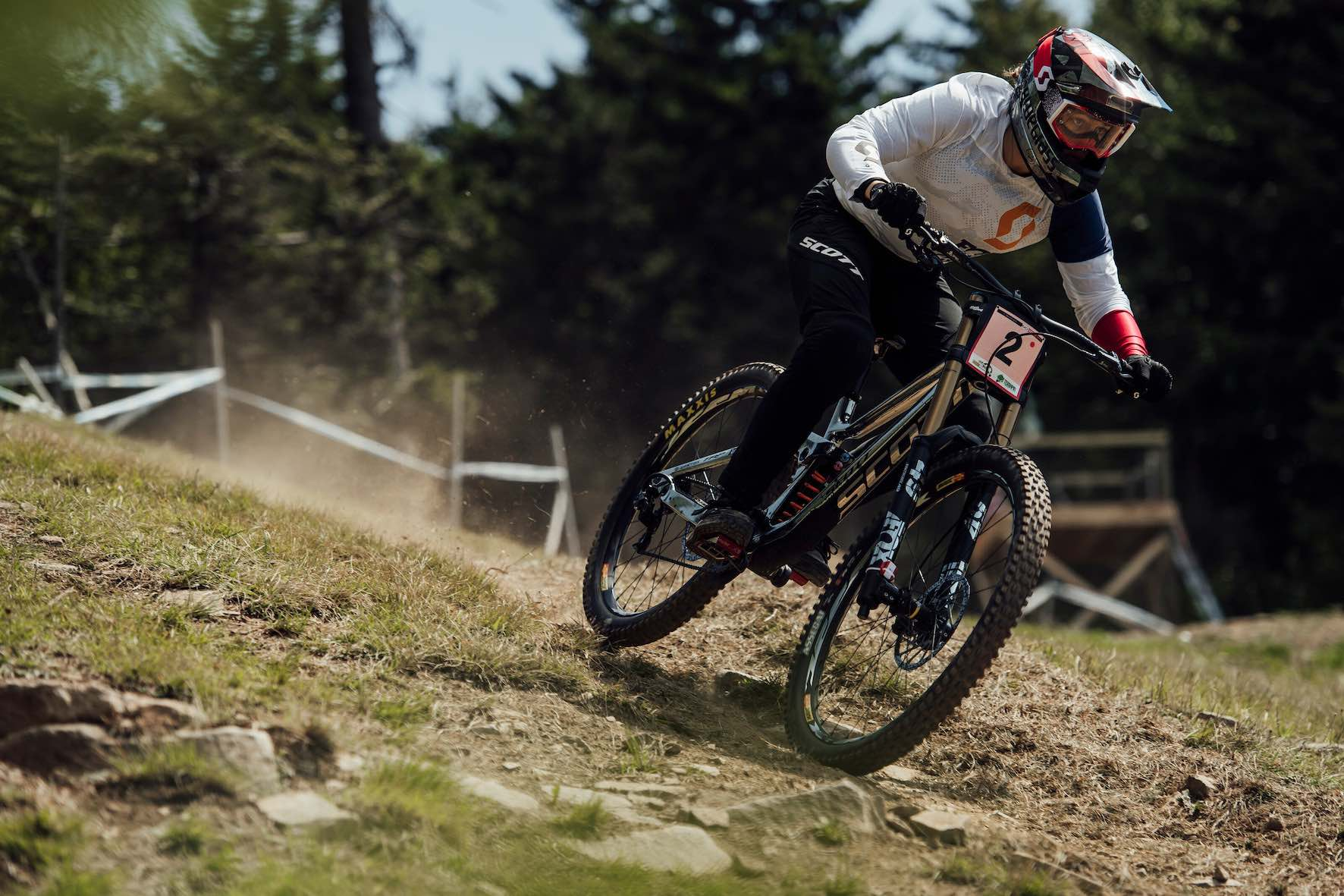Marine Cabirou racing the 2019 UCI Downhill MTB World Cup in Snowshoe