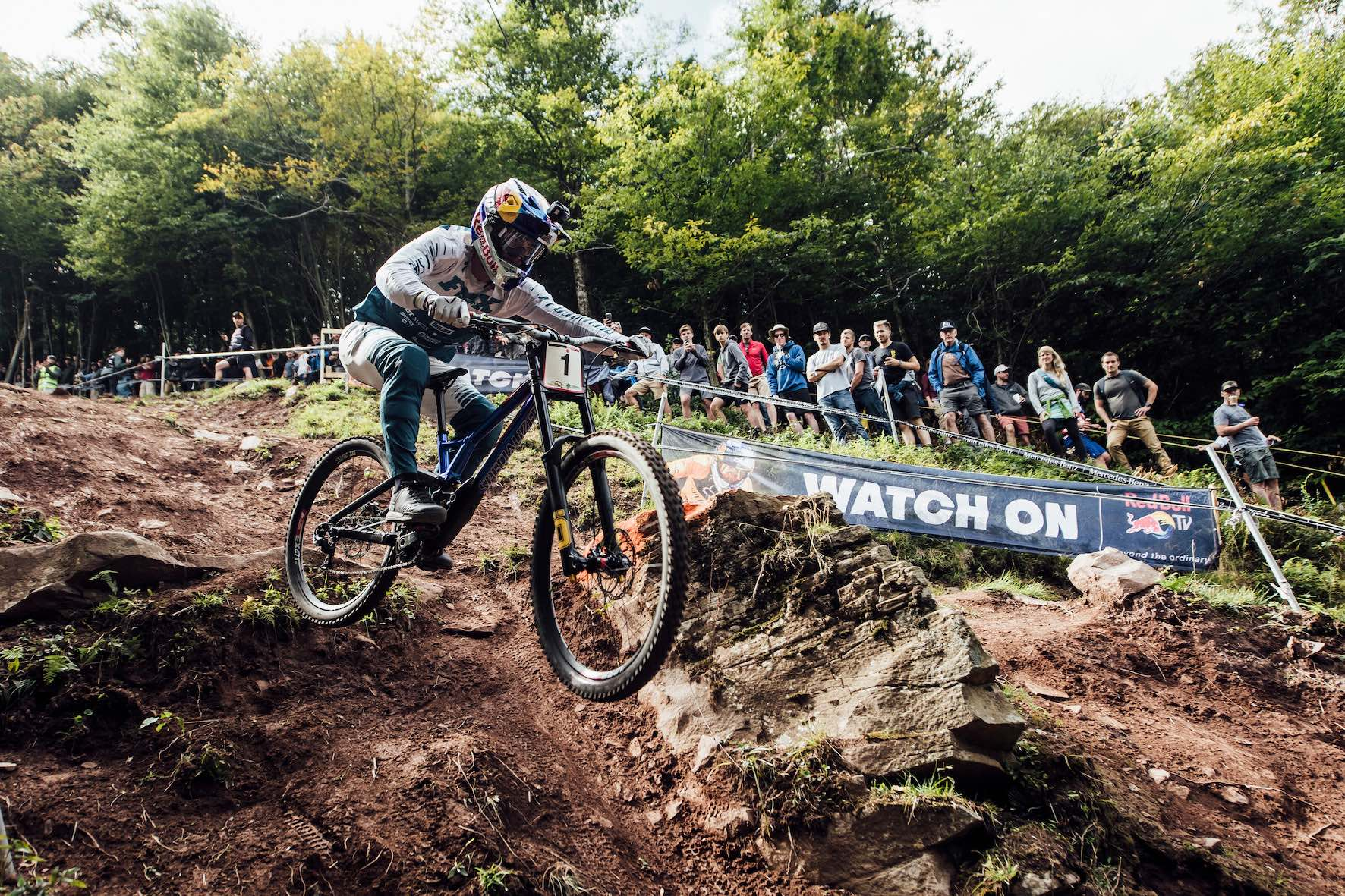 Loic Bruni racing the 2019 UCI Downhill MTB World Cup in Snowshoe