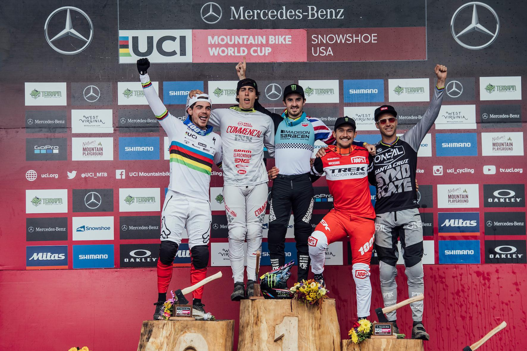 2019 UCI Downhill MTB World Cup Snowshoe Mens Podium
