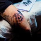 A tattoo being created by Nic Lewis