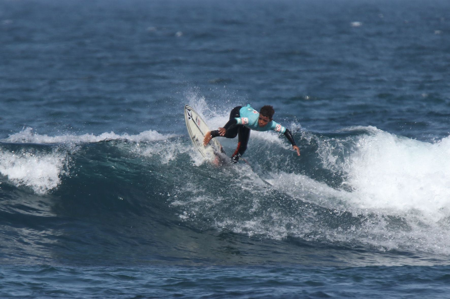 Gordon Falangile surfing in the 2019 Sea Harvest South African Junior Surfing Championships