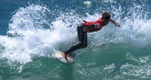 Gordon Falangie surfing in the 2019 Sea Harvest South African Junior Surfing Championships