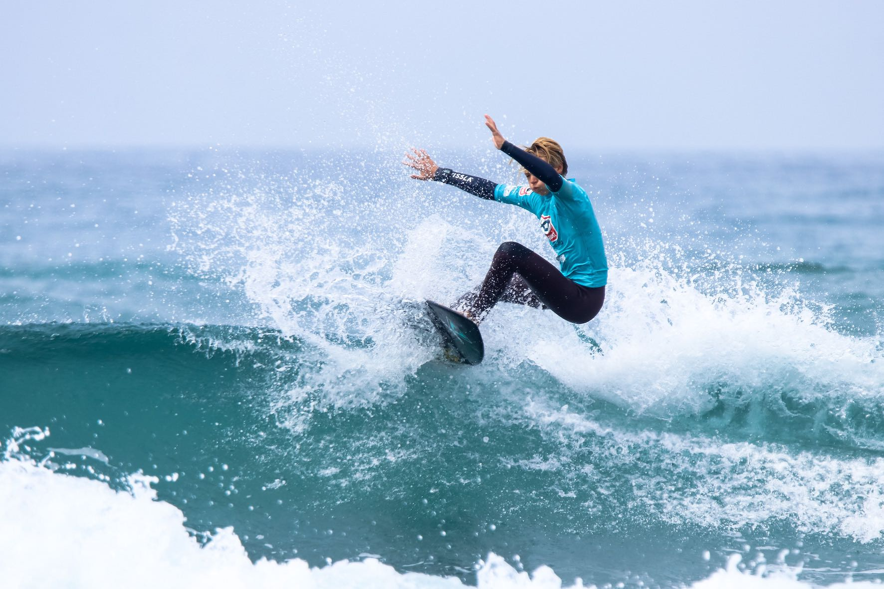 Joel Dace surfing in the 2019 Sea Harvest South African Junior Surfing Championships