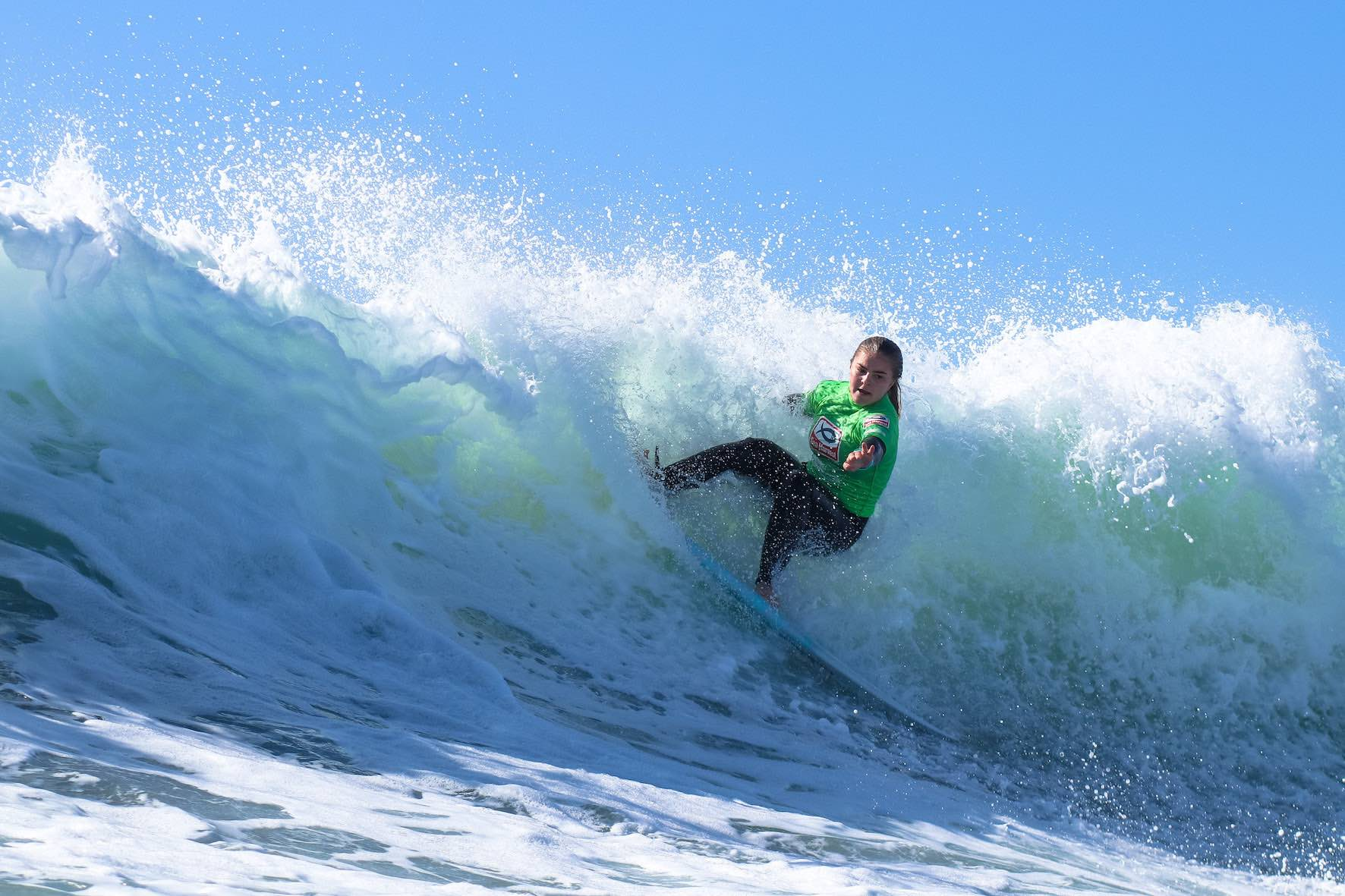 Kaylee shaw surfing in the 2019 Sea Harvest South African Junior Surfing Championships