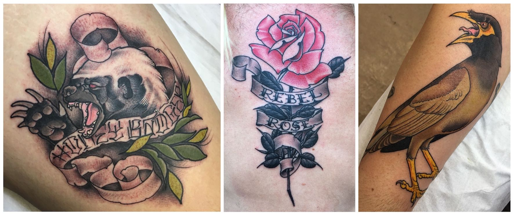 A selection of tattoo work done by Nic Lewis