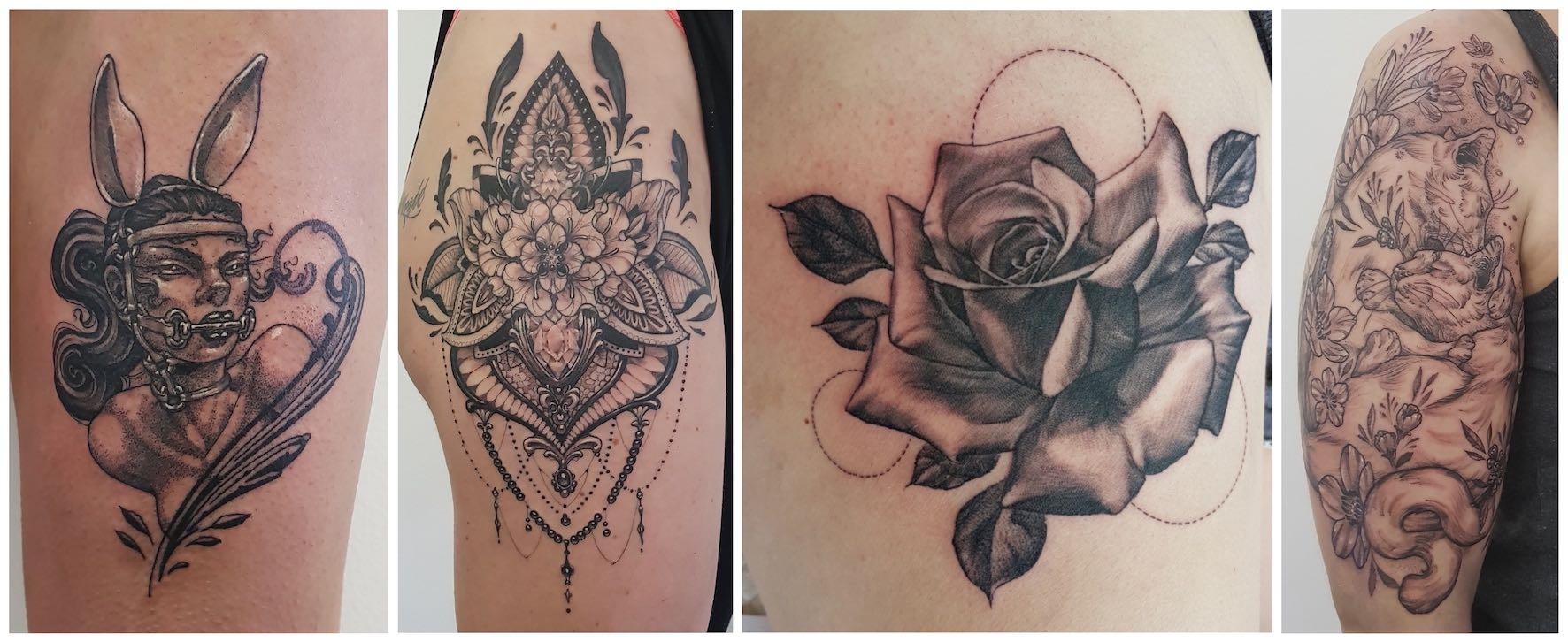 Illustrative tattoos done by Séona Stewart