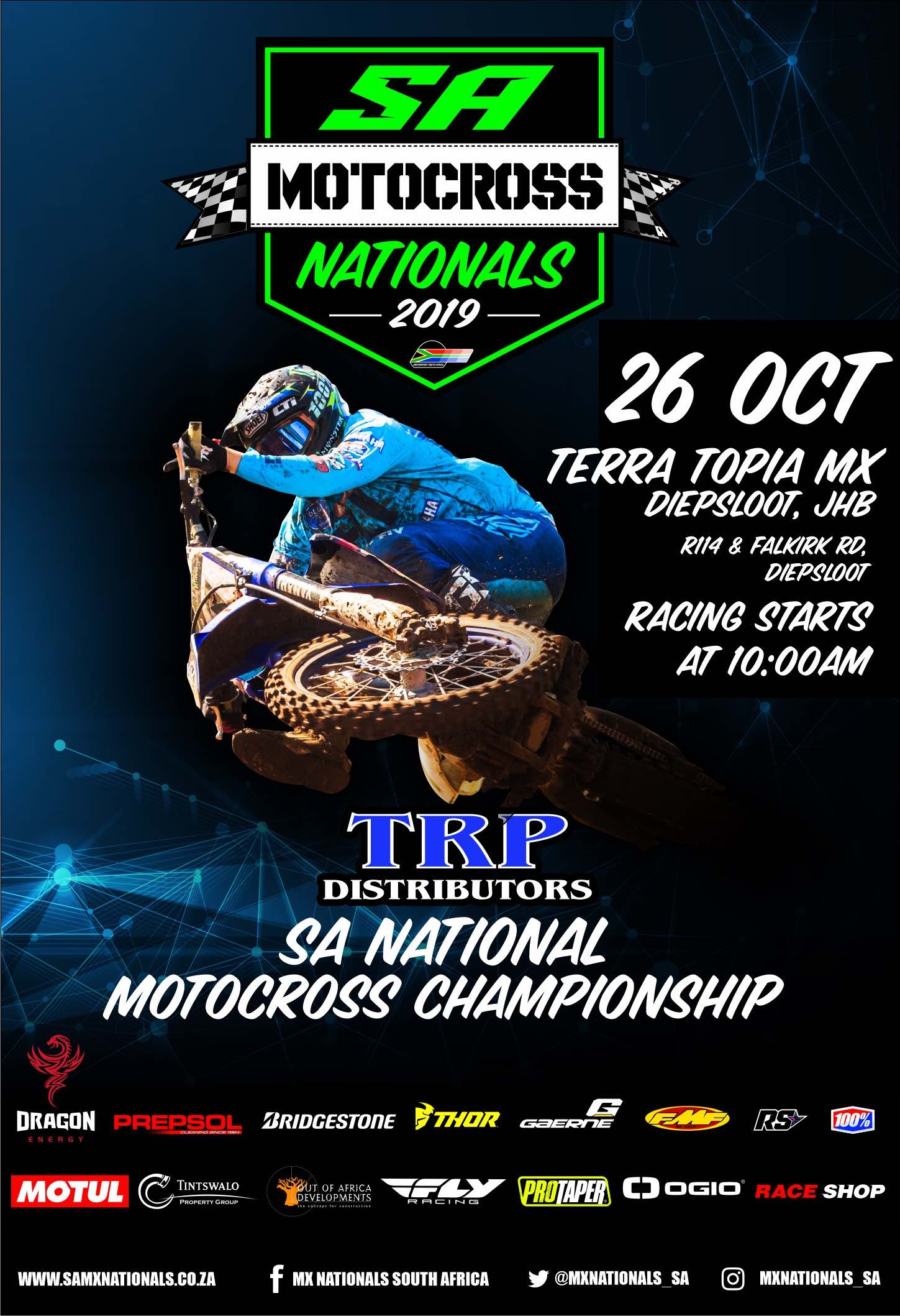 Details for the final round of the 2019 TRP Distributors South African National Motocross Championship taking place at Terra Topia