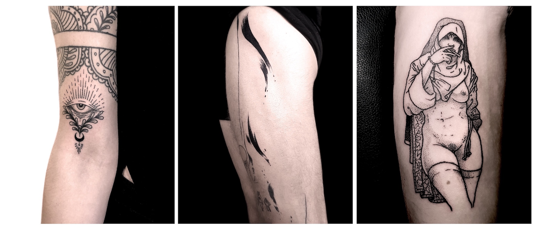A selection of tattoos done by Bryce Louw, aka Max Eru