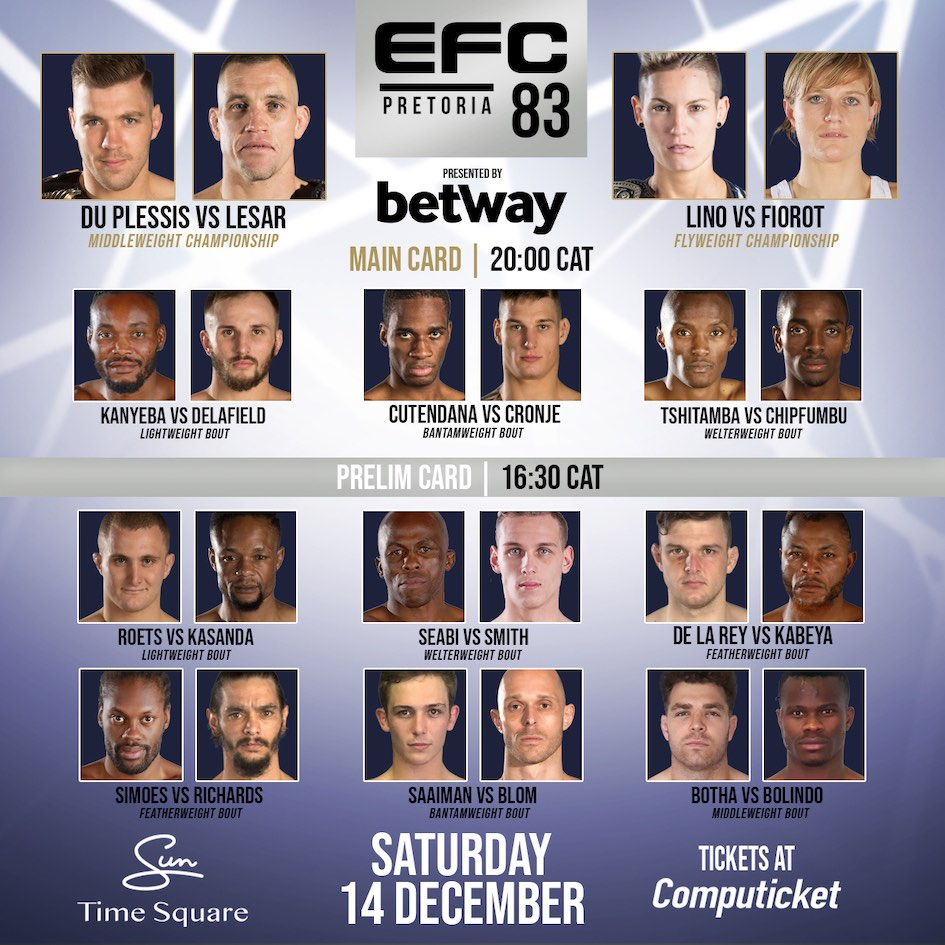 See the full Mixed Martial Arts fight card for EFC 83