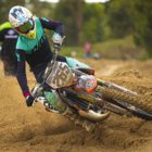 Stav Orland winning the 125 Highschool class at Round 1 of the 2020 SA Motocross Nationals