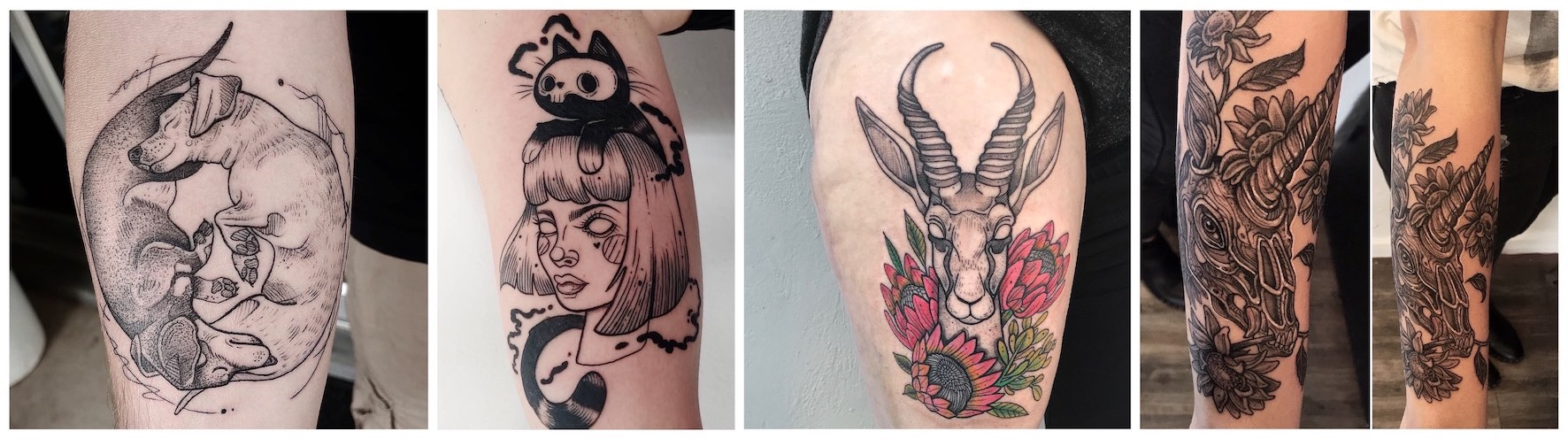 A selection of sketchy tattoos done by Roxy Rose