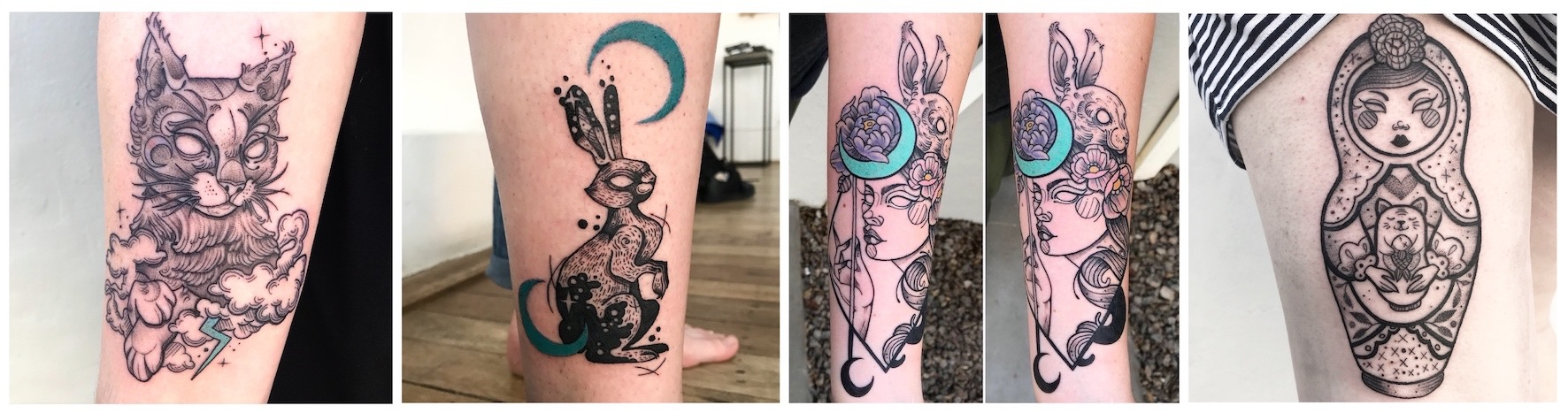 A selection of illustrative tattoos done by Roxy Rose