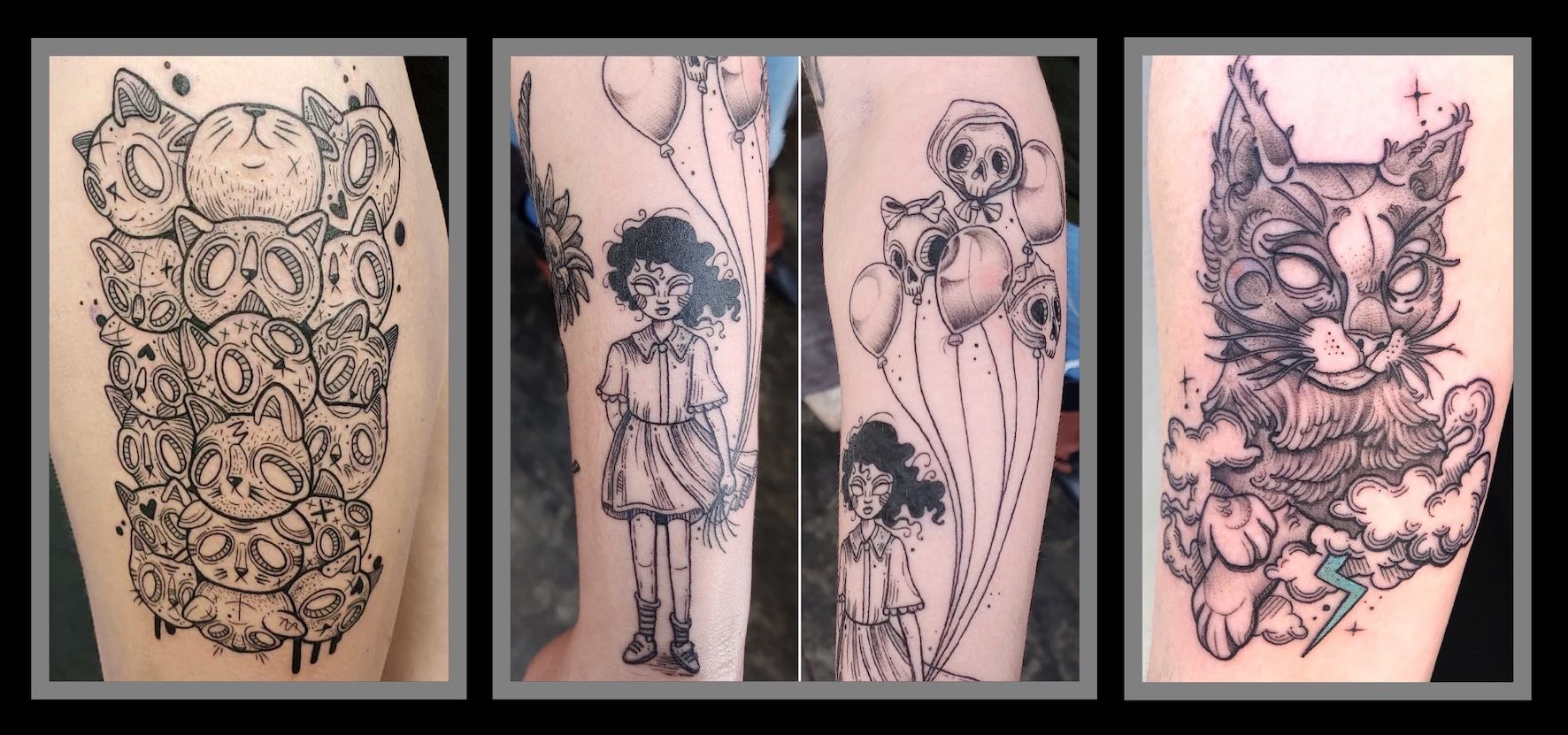Illustrative tattoos done by Roxy Rose of Fallen Heroes
