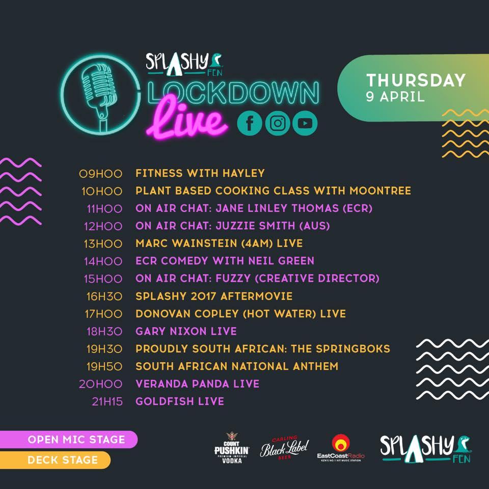 Splashy Fen Lockdown Live - Day 1 Schedule
