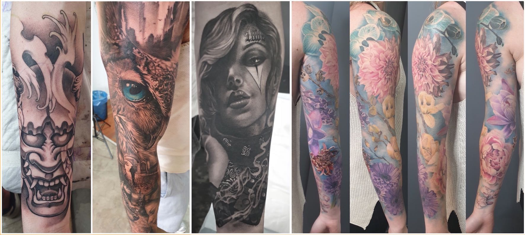 A selection of realism tattoo done by Bryan Du Rand