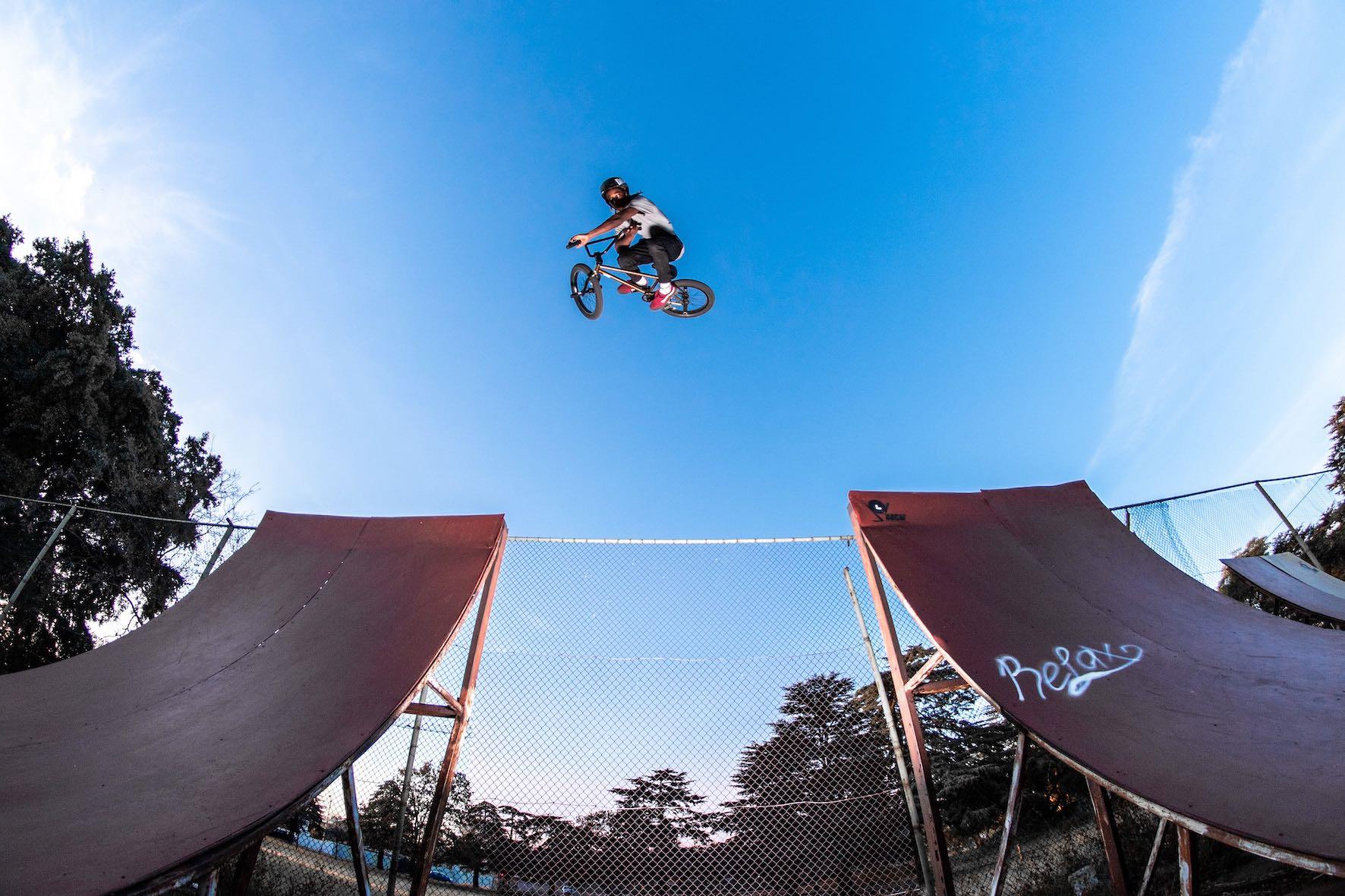 Nathi Steeze BMX air at his local BMX park