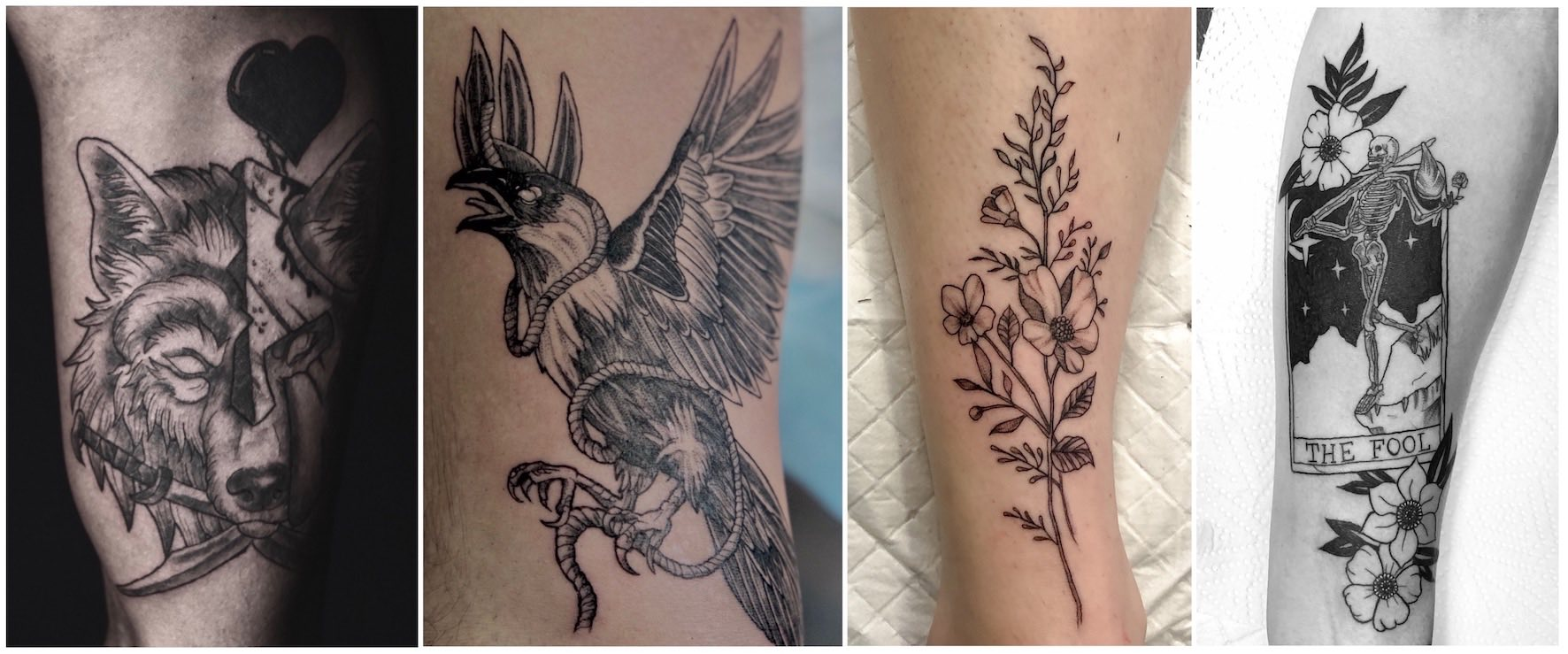A selection of neo-traditional tattoos done by Nathan Ferreira