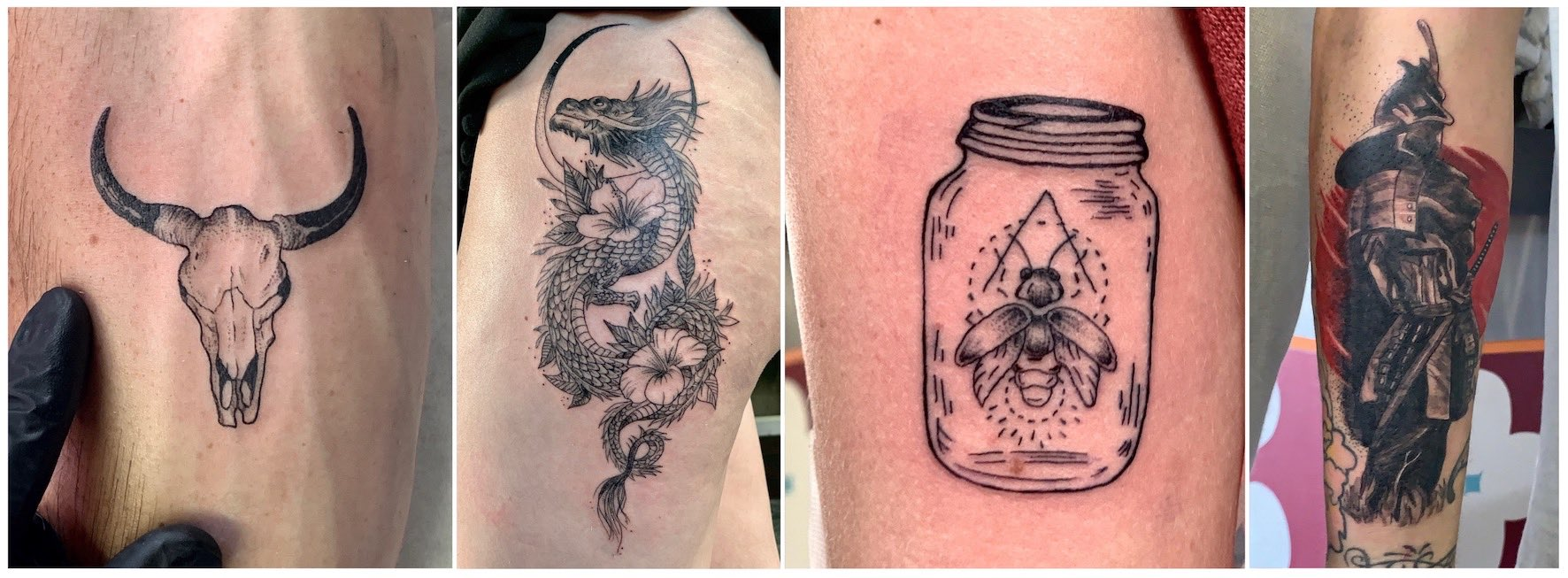 A selection of black work tattoos done by Nathan Ferreira