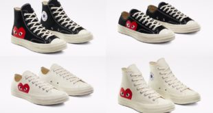 The Converse X Comme des Garçons PLAY Chuck 70 features classic Chuck Taylor styling with a playful twist.