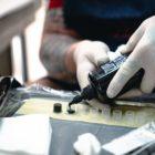 Brad Pretorius preparing the tattoo ink