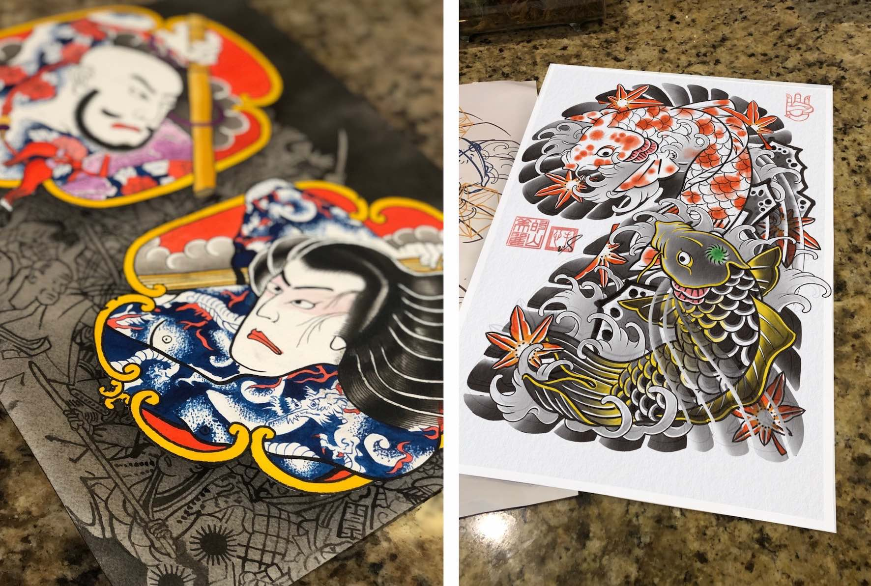 Japanese tattoo designs by Daniel Feinberg