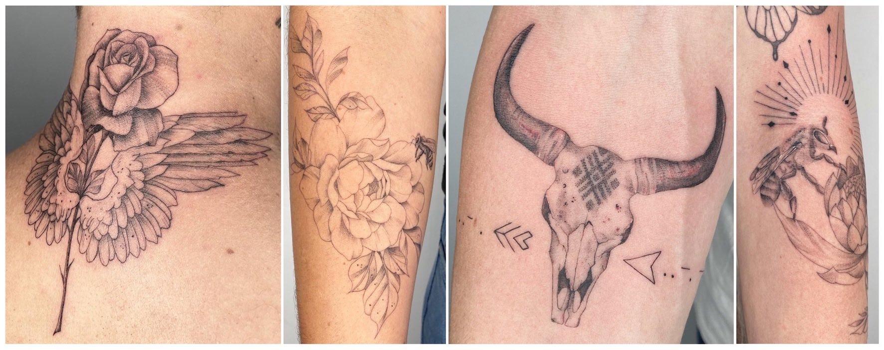 A selection of tattoos done by Alyssa van der Merwe