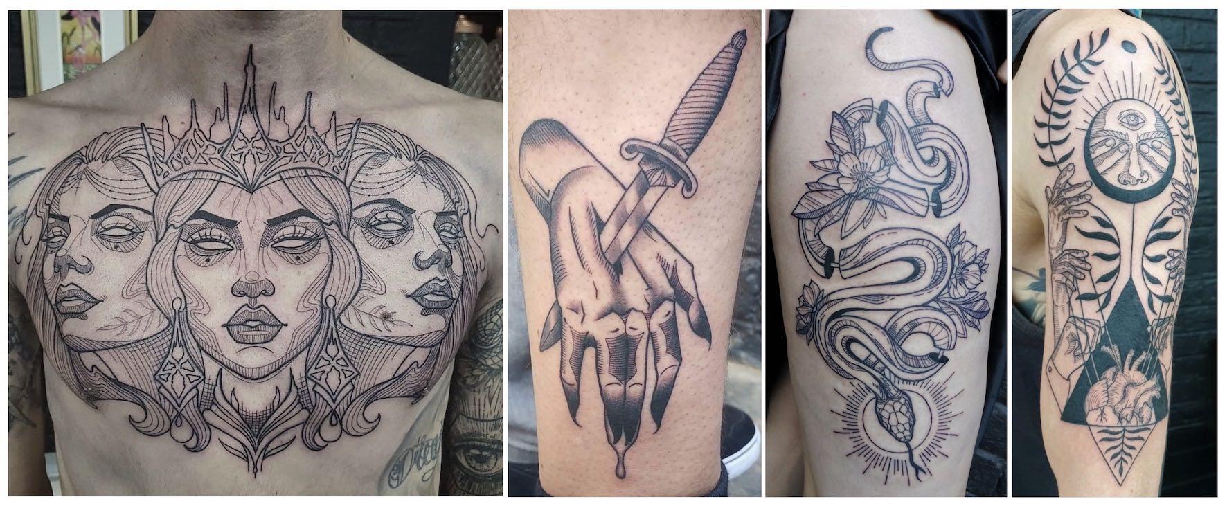 Blackwork tattoos done by Jade Alexandra