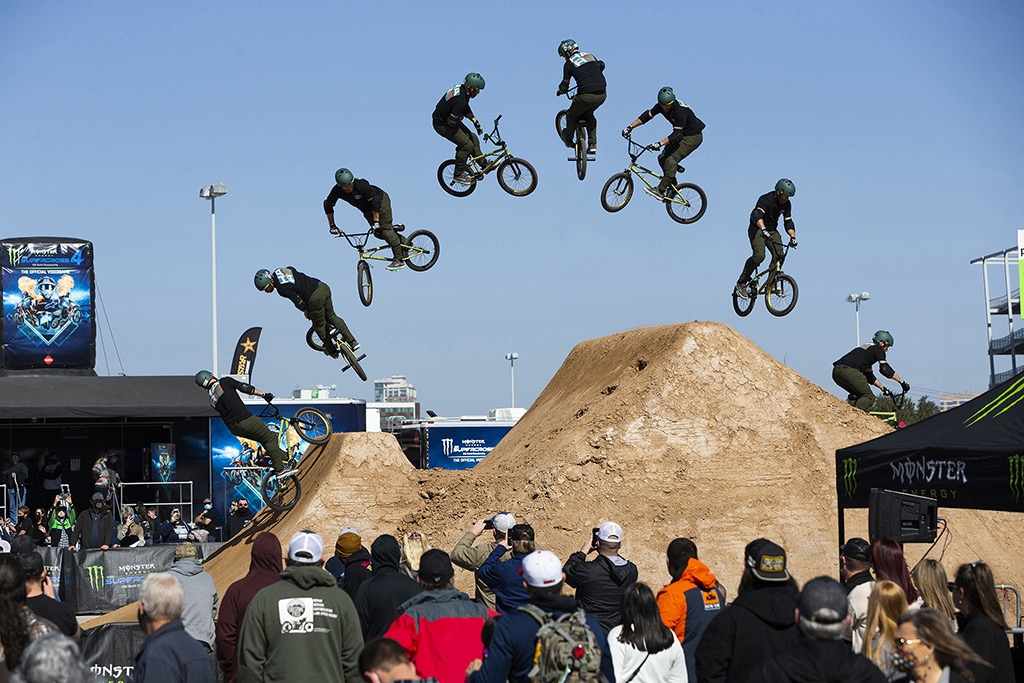 Ryan Nyquist riding in the Monster Energy BMX Triple Challenge Dirt Competition
