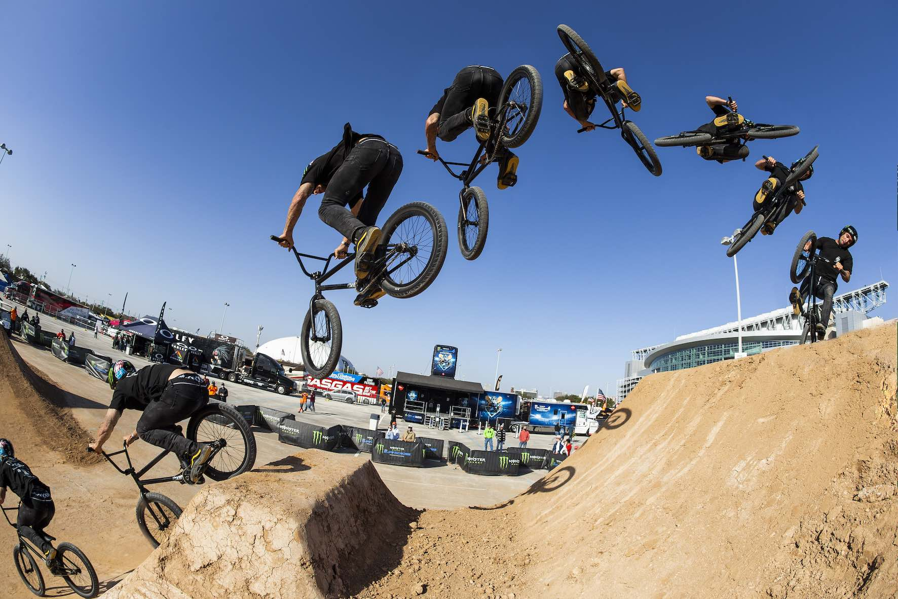 Larry Edgar riding in the Monster Energy BMX Triple Challenge Dirt Competition
