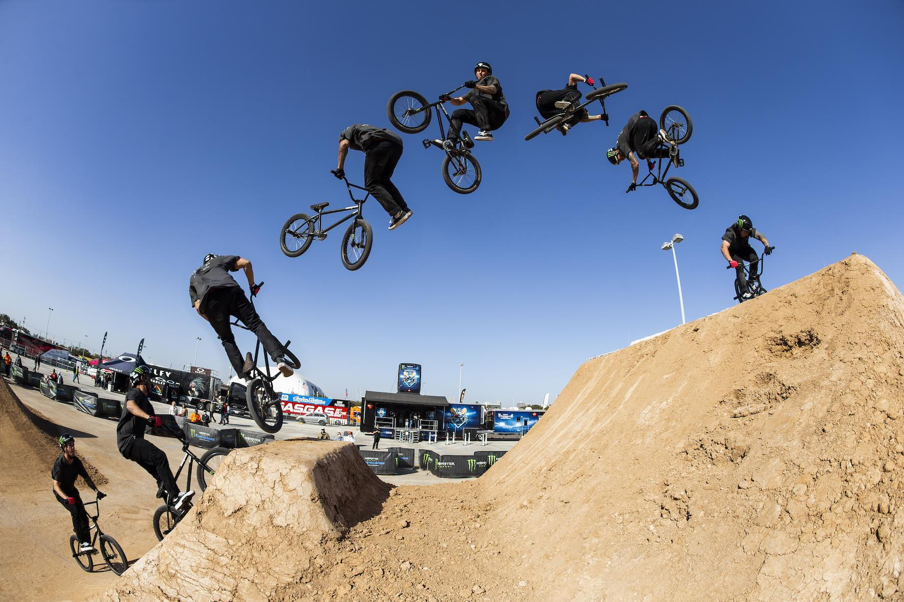 Pat Casey riding in the Monster Energy BMX Triple Challenge Dirt Competition