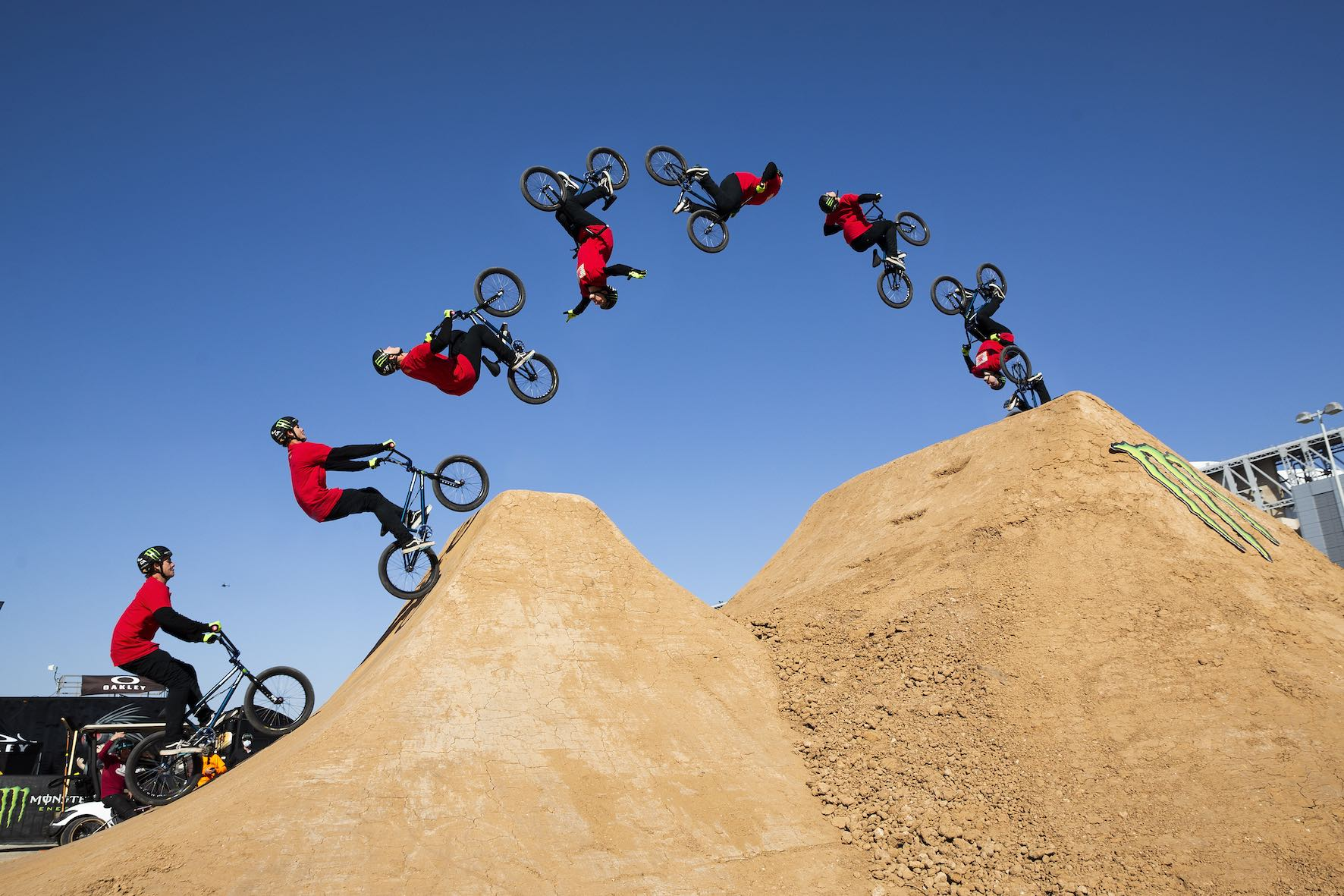 Andy Buckworth riding in the Monster Energy BMX Triple Challenge Dirt Competition