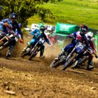 Tristan Purdon leads the pack in the MX1 class at round 1 of the 2021 SA Motocross Nationals