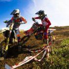 David Goosen and Cameron Durow battling at the motocross nationals