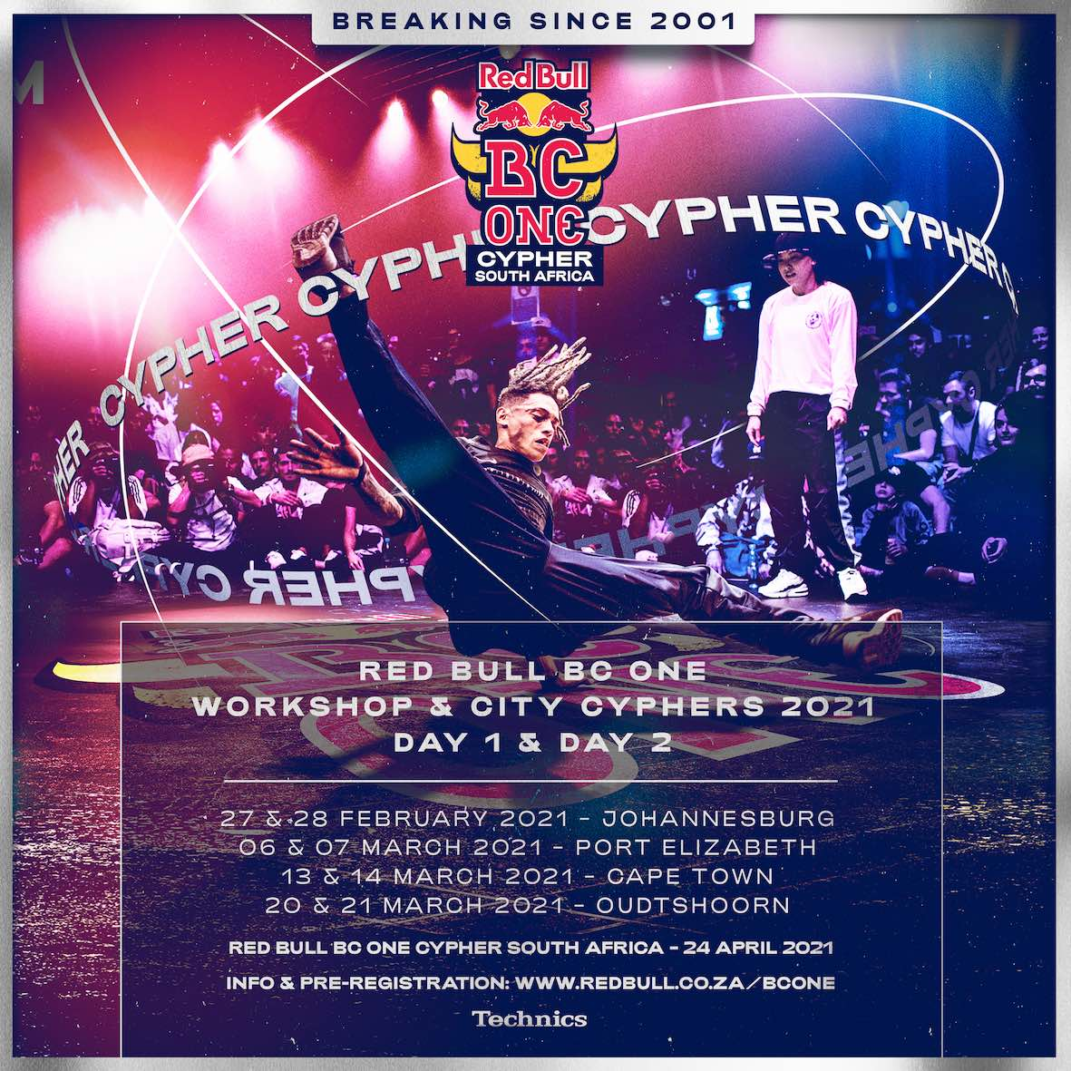 Details for the four Red Bull BC Onequalifying cypher and workshop weekends