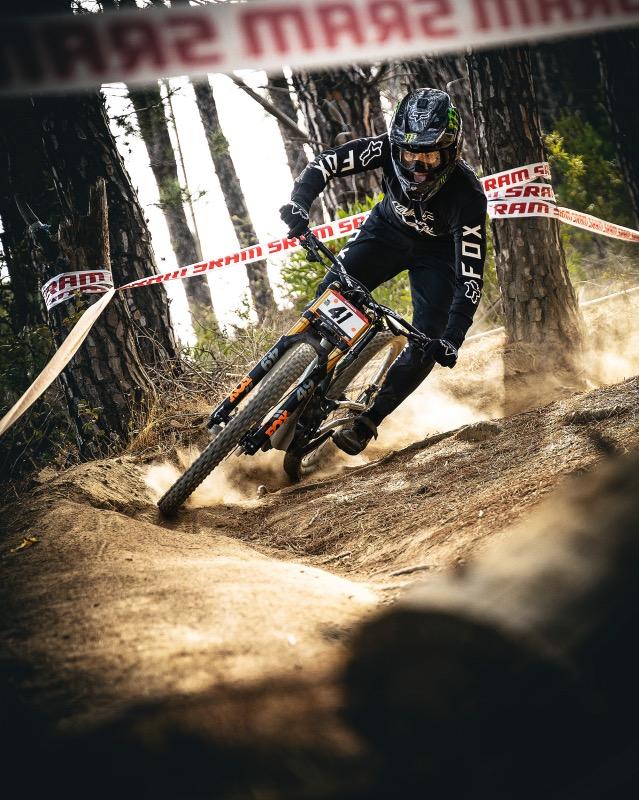 Theo Erlangsen racing the 2021 SA National Downhill MTB Championships