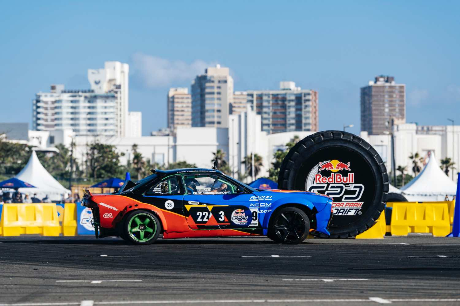 Tommie Beirowski competing at the Red Bull Car Park Drift South Africa Qualifier