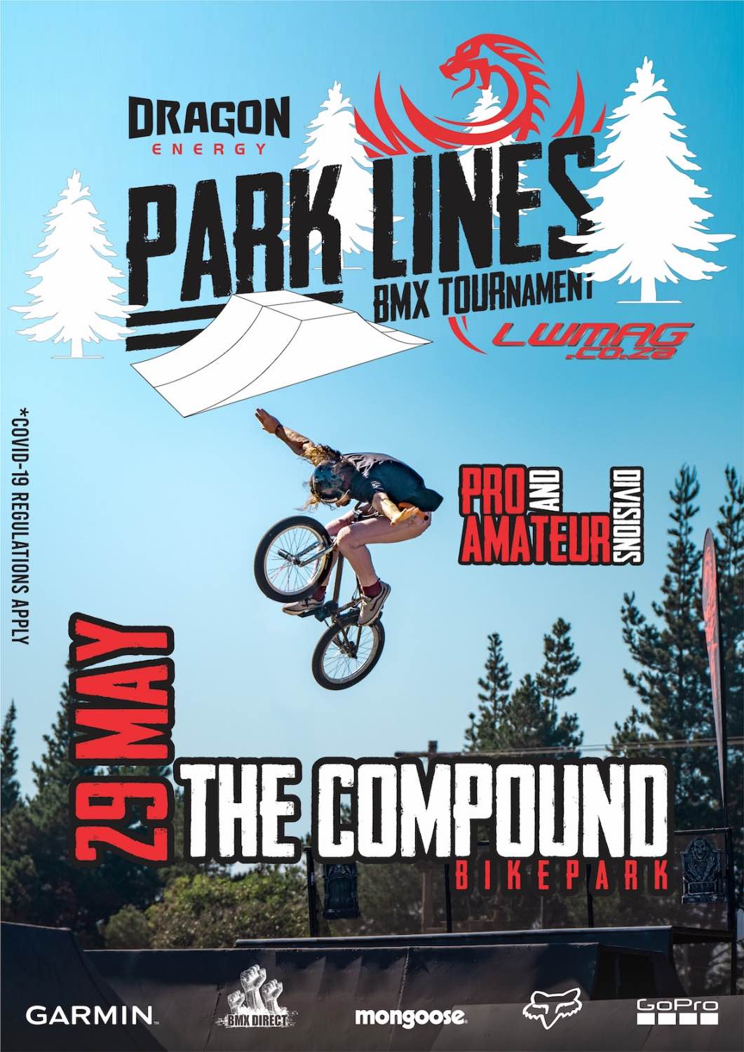 LW Mag and Dragon Energy Drink are proud to announce the upcoming Park Lines BMX Tournament. Taking place on 29 May 2021 where the country's best Pro and Amateur riders will battle it out for their share of the prize purse and to see who will be crowned event champions.