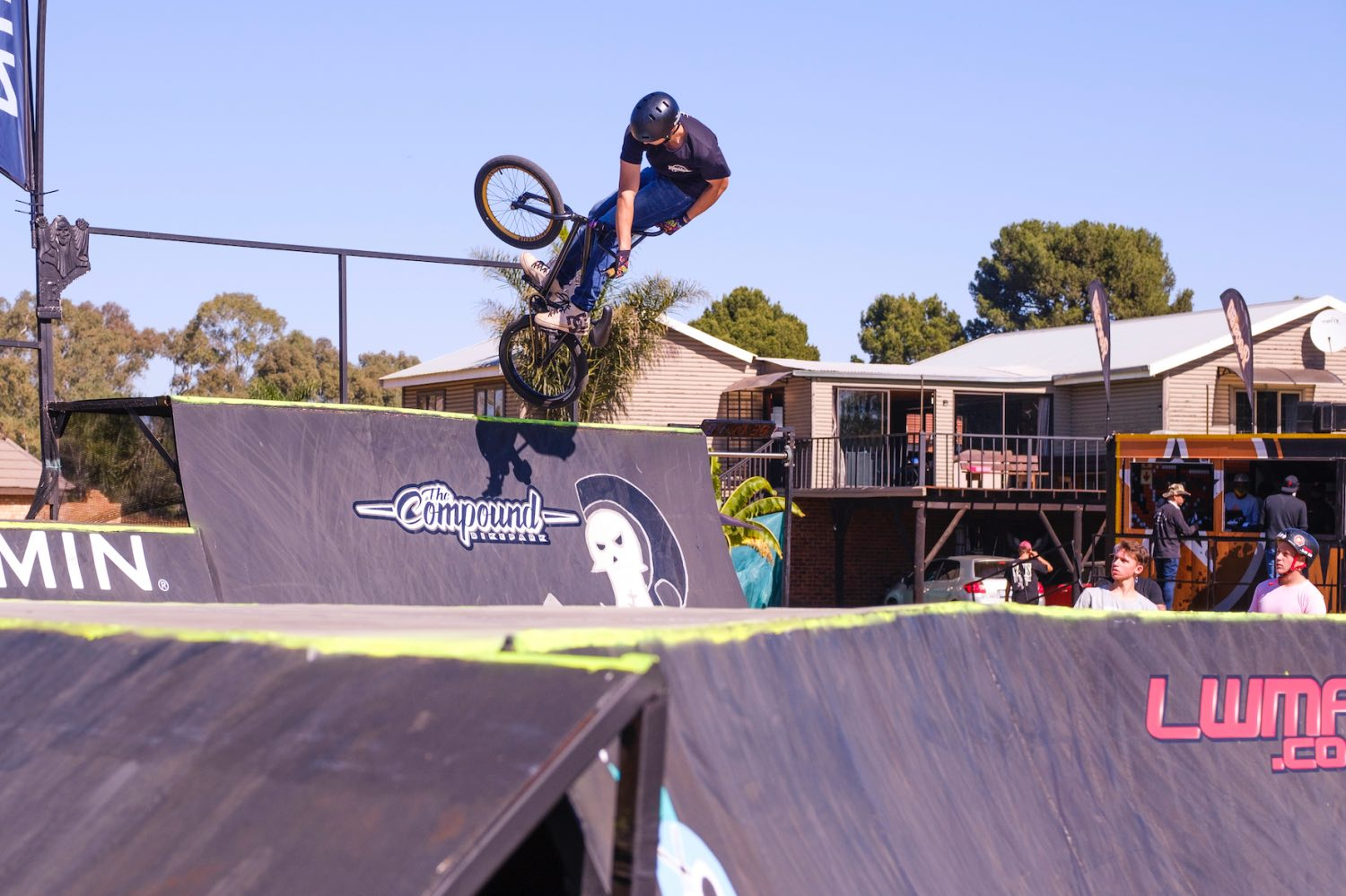 Damion Fourie competing at the Park Lines BMX Tournament