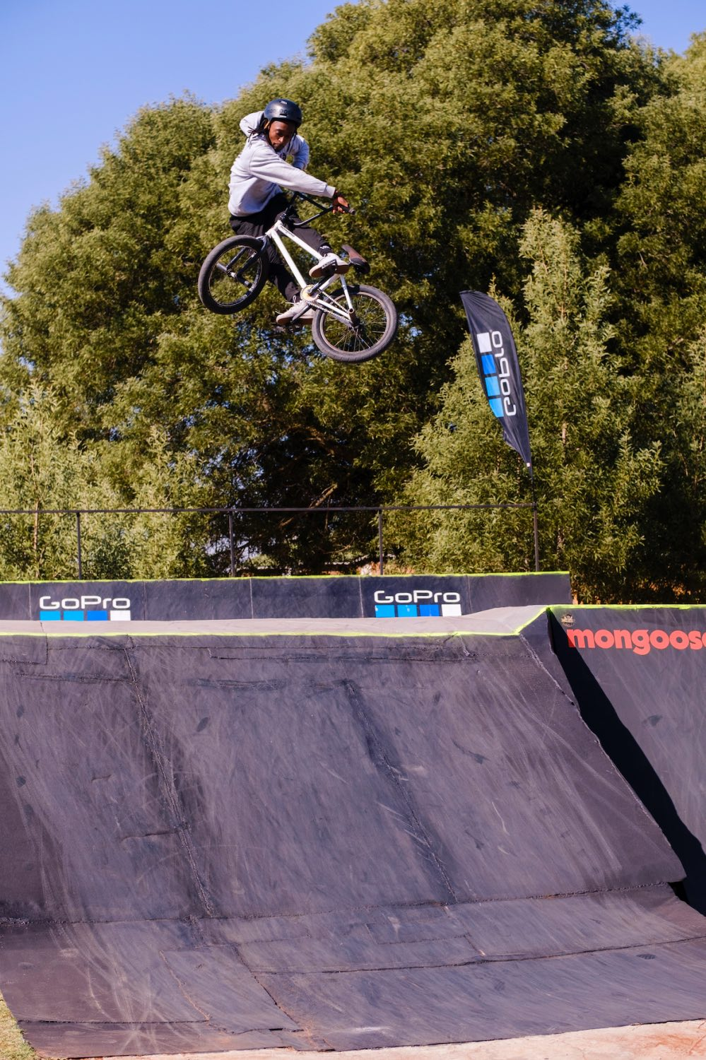 Nathi Steeze competing at the Park Lines BMX Tournament