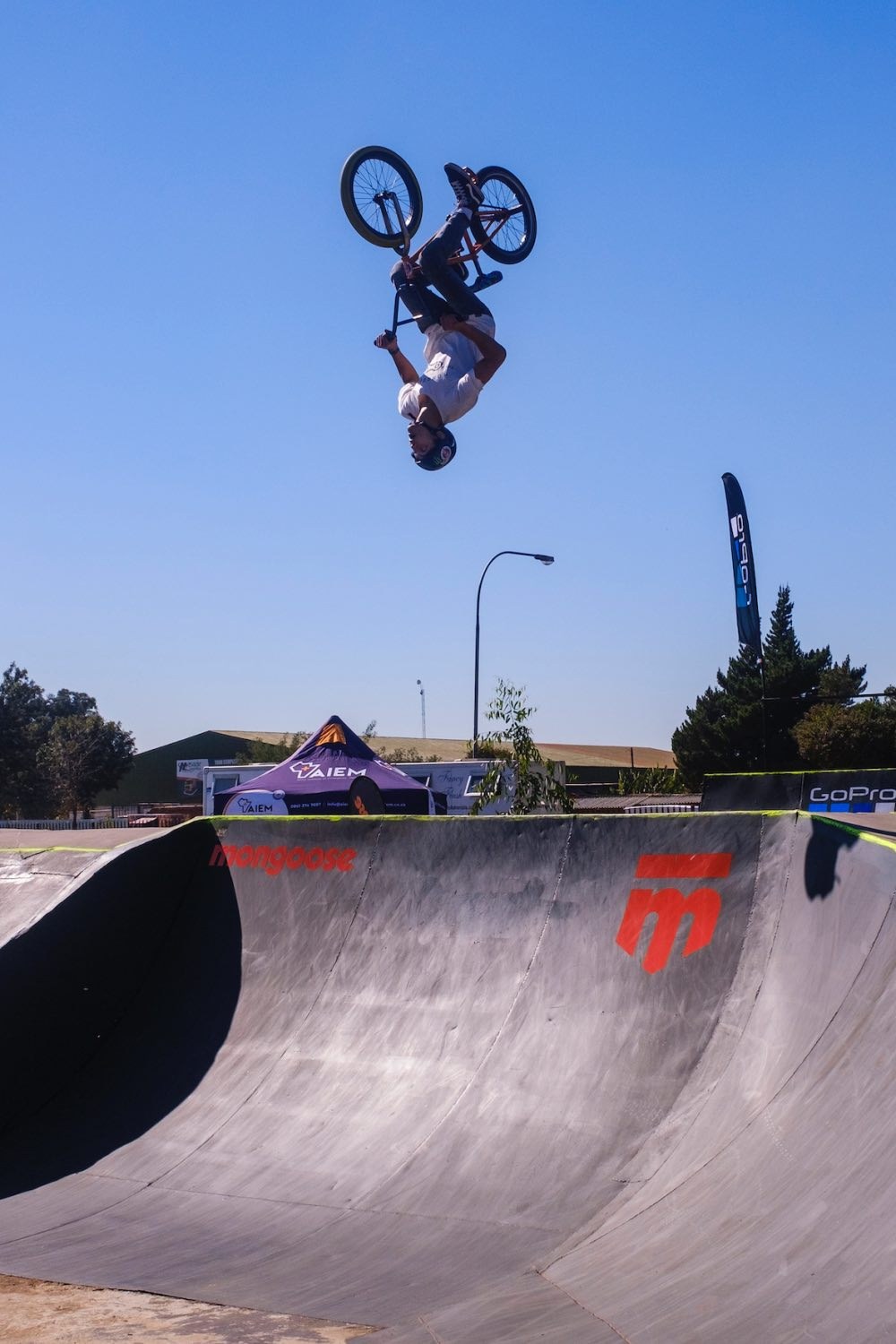 Victor Sawkins competing at the Park Lines BMX Tournament