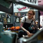 Shayleigh Roelofse enjoying some down time between tattooing