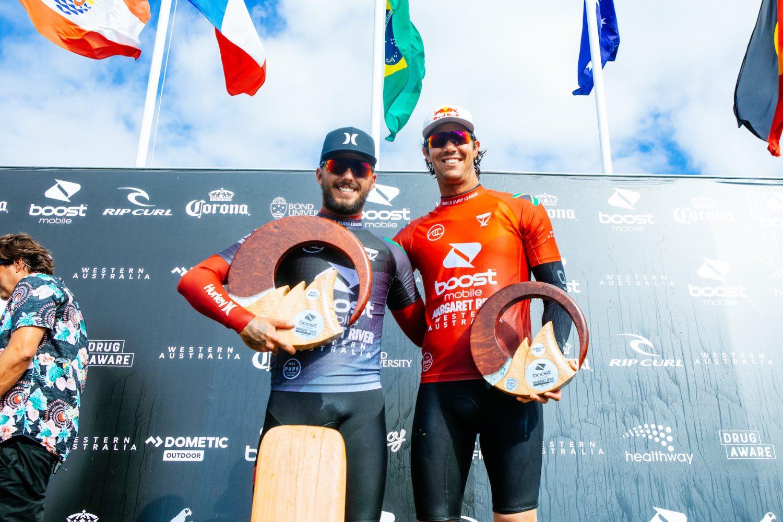 Boost Mobile Margaret River Pro surfing contest podium