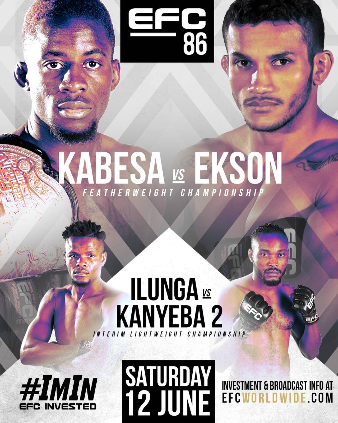 EFC 86 takes place this Saturday, 12 June, and sees Igeu Kabesa return to the MMA Hexagon to take on Reinaldo Ekson in the Featherweight Title Fight, and Alain Ilunga goes head-to-head with Anicet Kanyeba for the interim lightweight title.