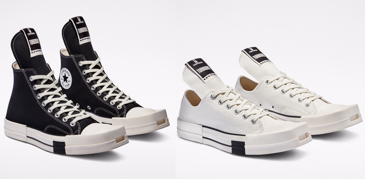 In the first drop of an ongoing collaboration with DRKSHDW, fashion designer Rick Owens rebels against the usual appearance of the Converse Chuck 70. With a punk mindset and modern minimalist aesthetic, he distorts the classic lines of the most iconic silhouette - Converse TURBODRK Chuck 70.