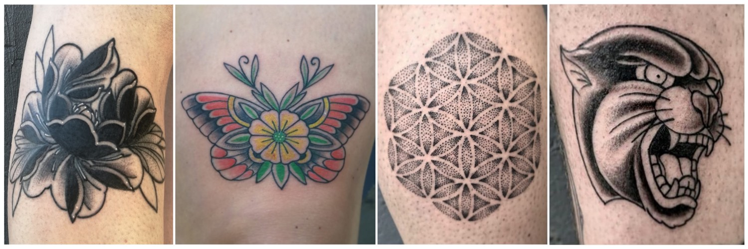 Traditional style tattoos done by Chris Theunissen