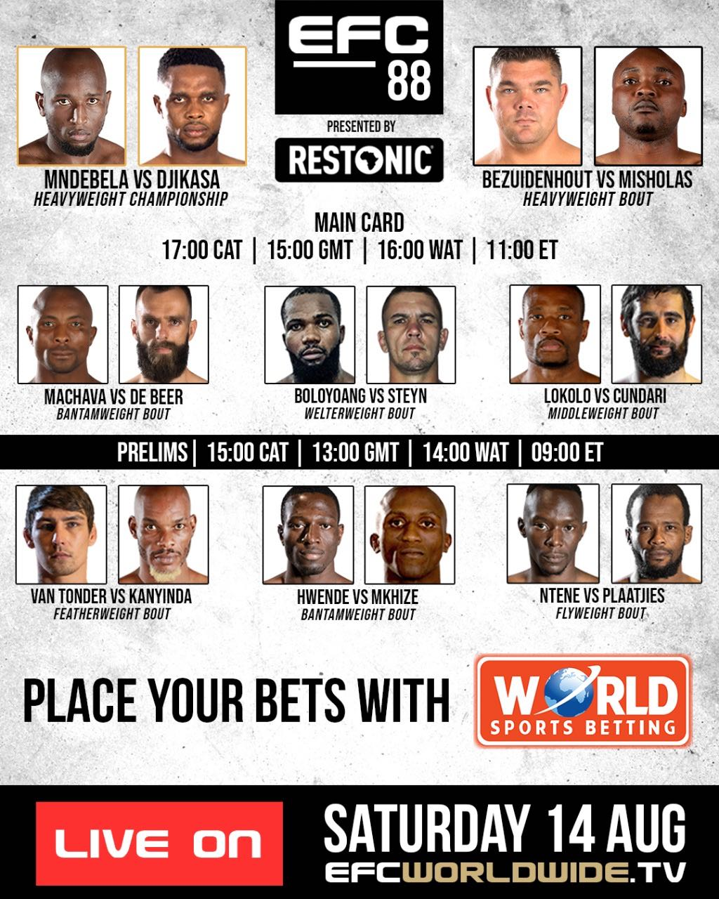 See all the MMA fights set to take place at EGC 88 on this fight card