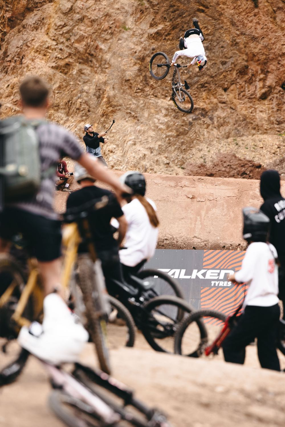 Emil Johansson riding at the 2021 Audi Nines Freeride and Slopestyle MTB event