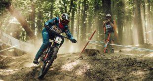 Greg Minnaar racing at the third stop of the 2021 UCI Downhill MTB World Cup in Maribor