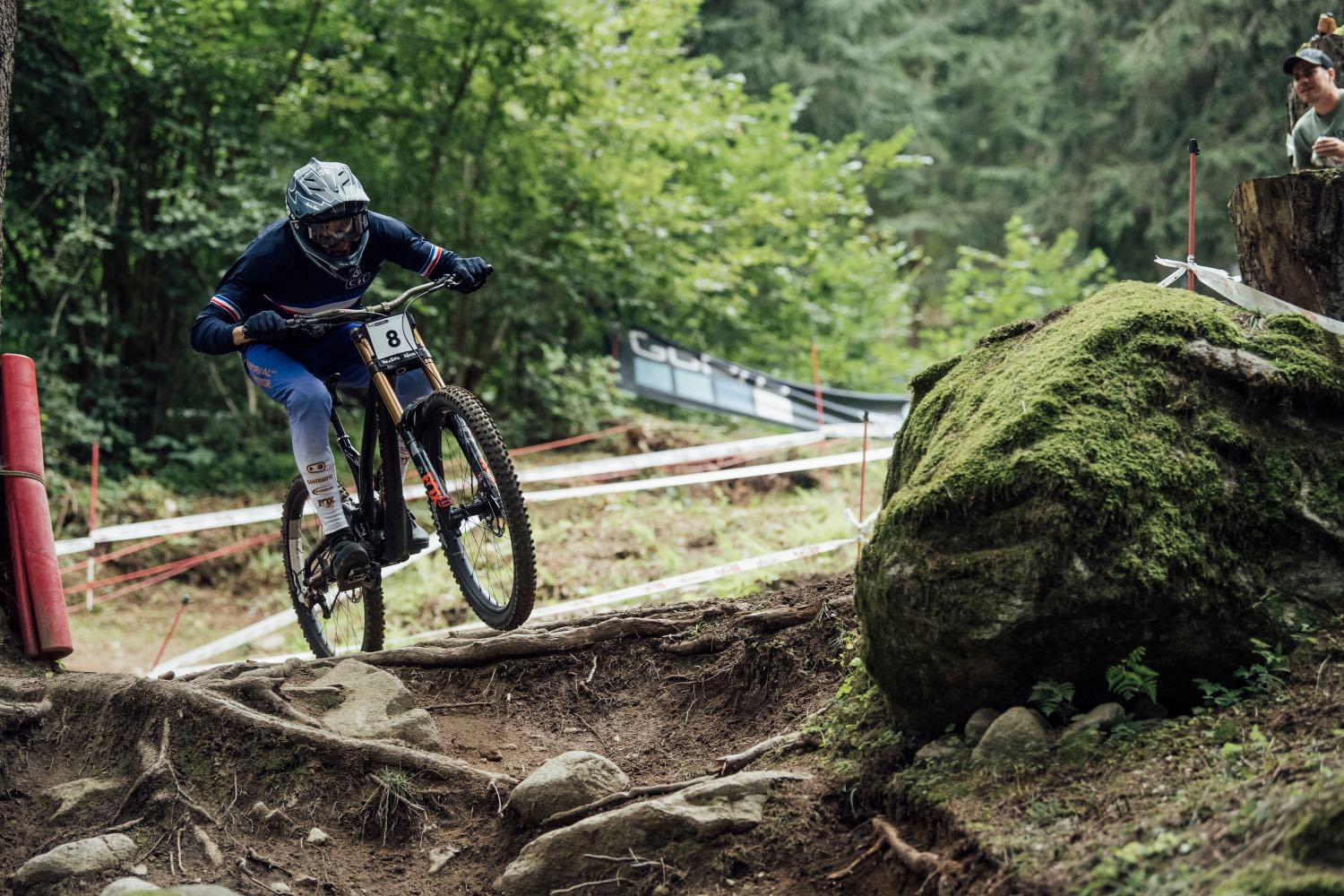 Benoit Coulanges competing at the 2021 UCI Downhill MTB World Championships