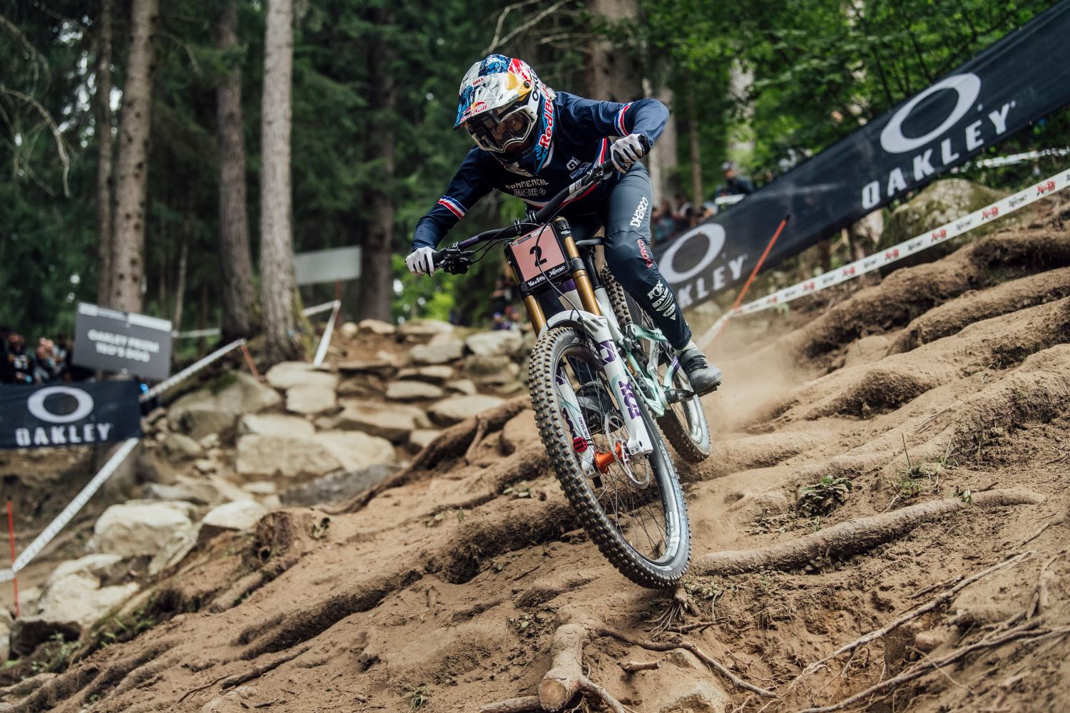 Myriam Nicole competing at the 2021 UCI Downhill MTB World Championships
